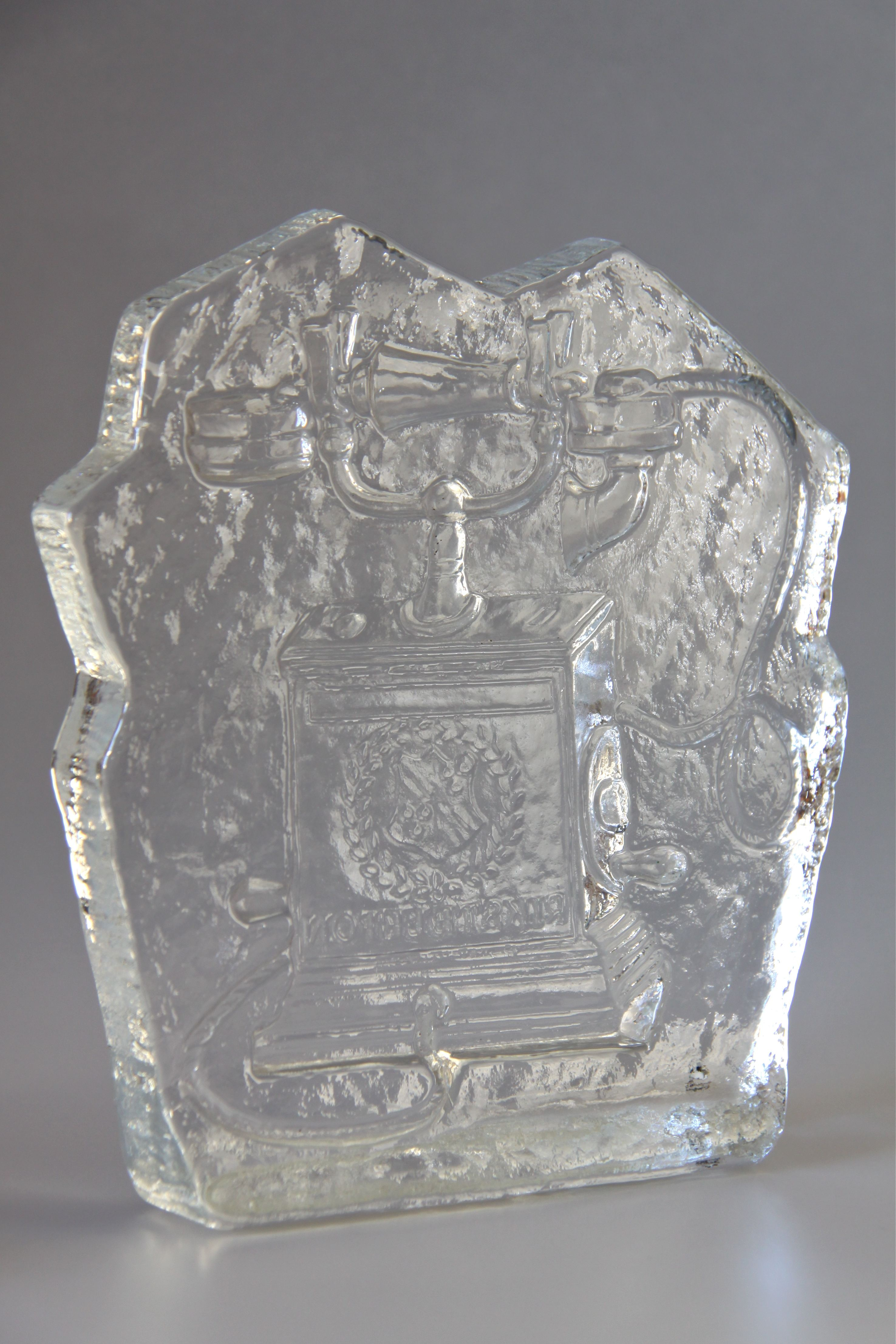 Swedish Pukeberg Glass Paperweight Ice Block Depicting A Vintage Telephone Designed By Uno