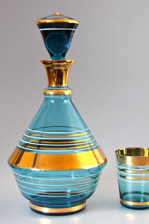 Bohemian Borske Sklo Glassworks Cobalt Blue Gilted