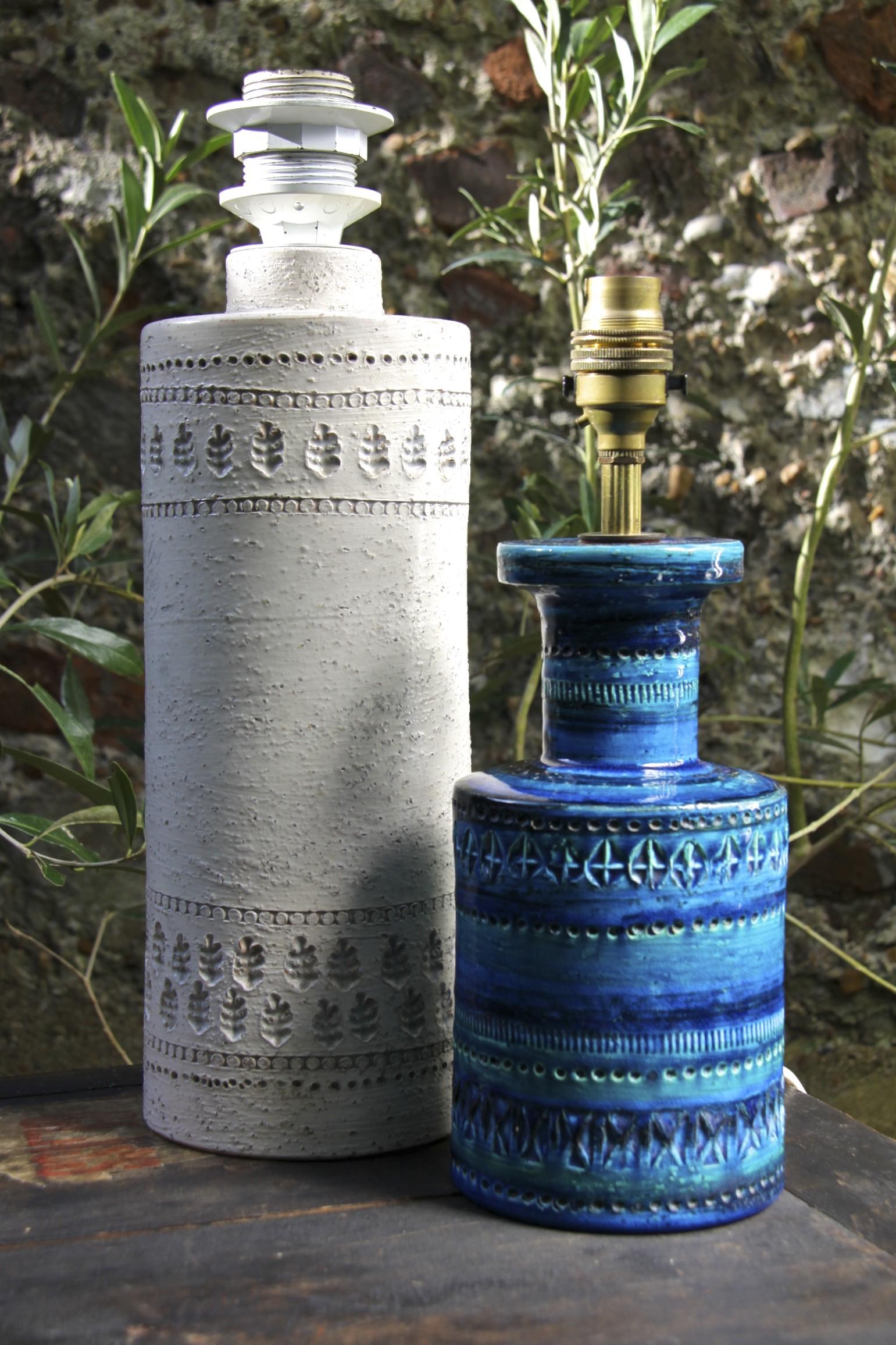 Bitossi Italian Pottery Rimini Blue And Rare White Glaze