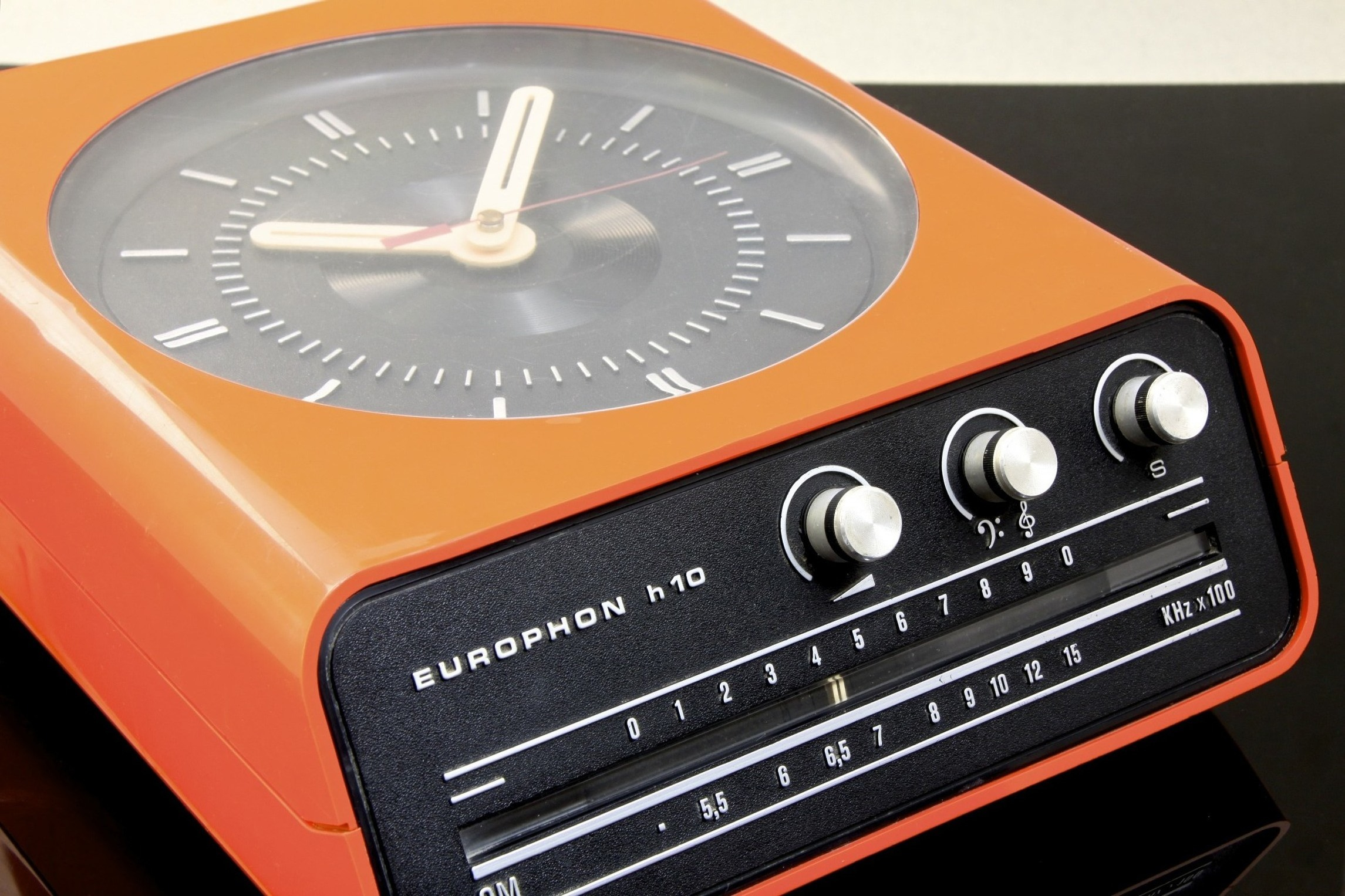 Space Age Orange Plastic Europhon H10 Wall Clock And Radio