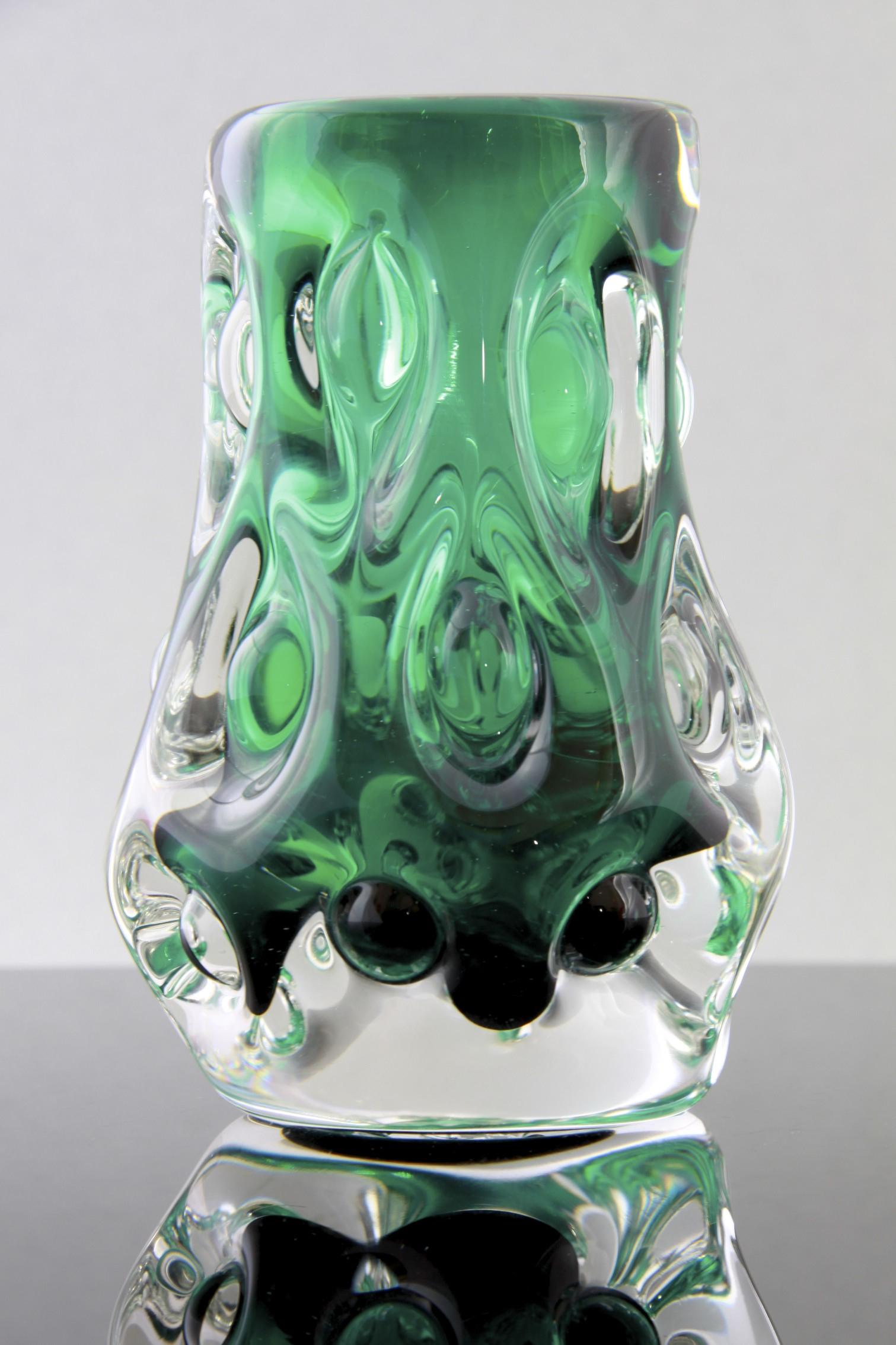 Liskeard Glass Green Cased Glass Knobbly Vase Designed