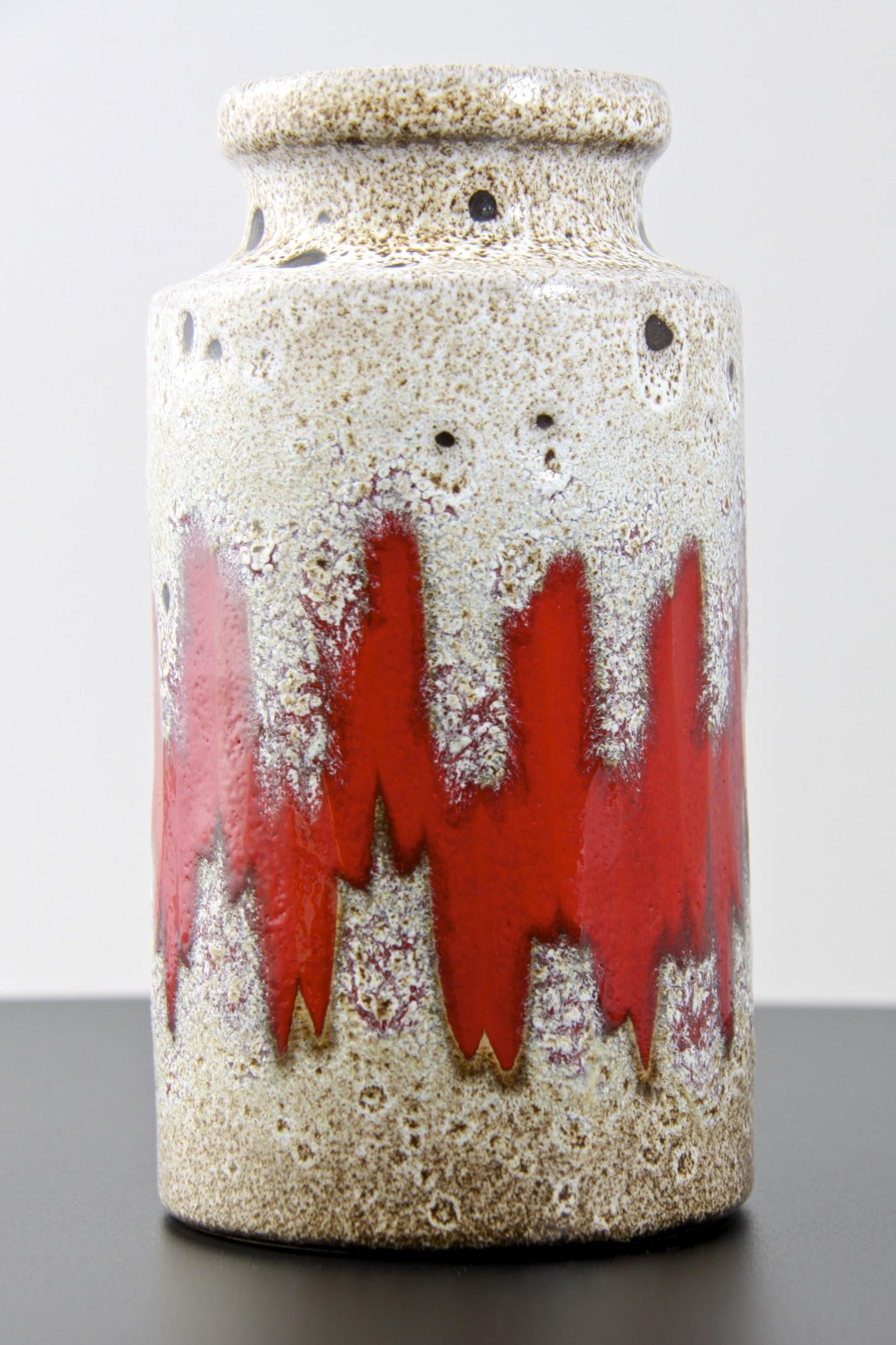 1970s Vintage SCHEURICH KERAMIK White Fat Lava Vase with Floral decor 27122 by Heinz Siery West German Pottery