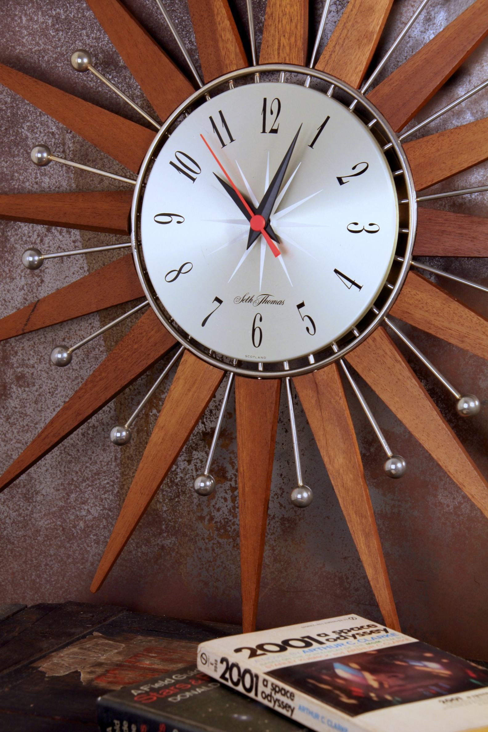 Seth Thomas Starburst Wall Clock With Teak And Chrome Rays And