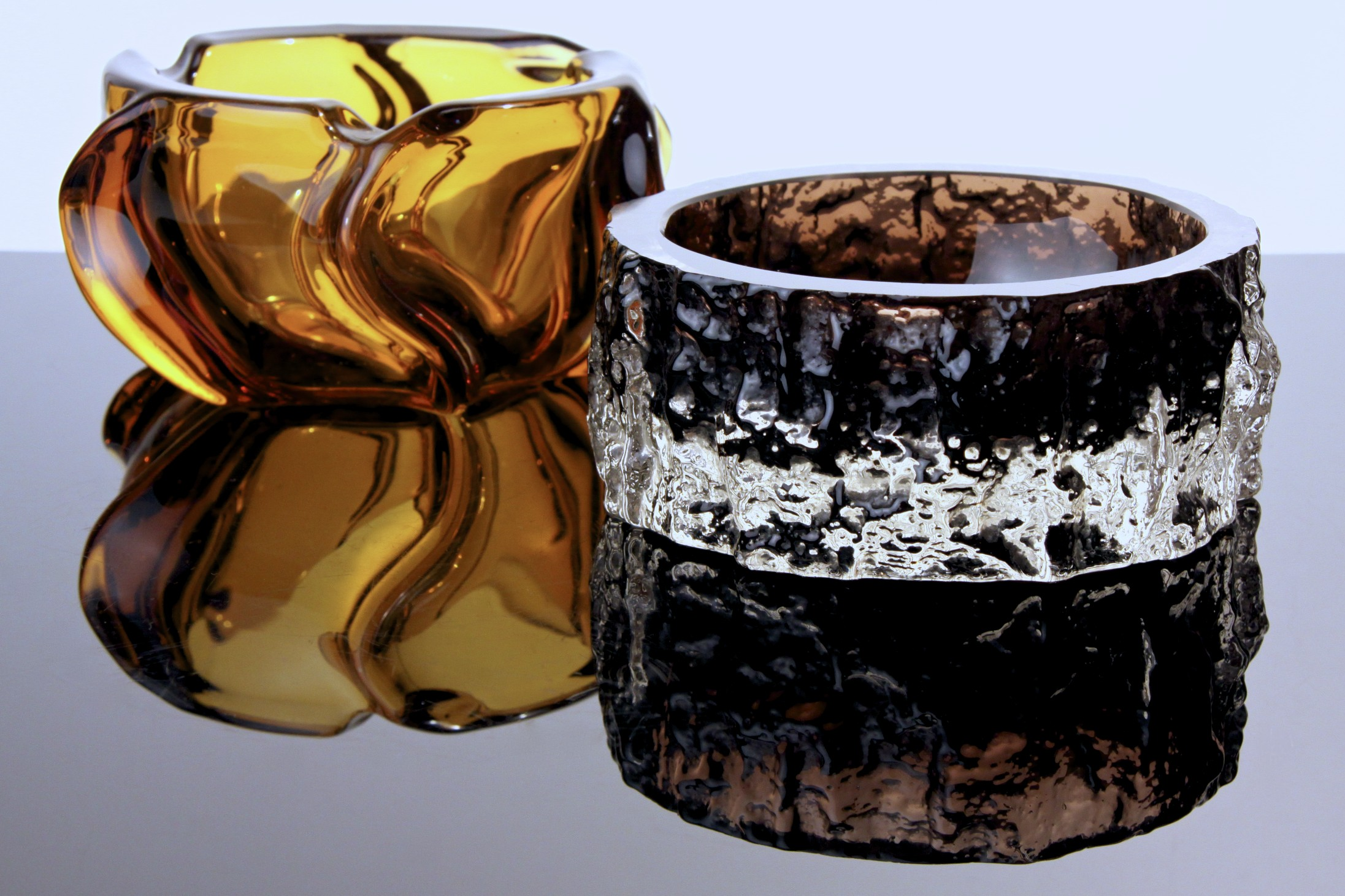 Whitefriars Textured Cinnamon Glass Bowl Designed By