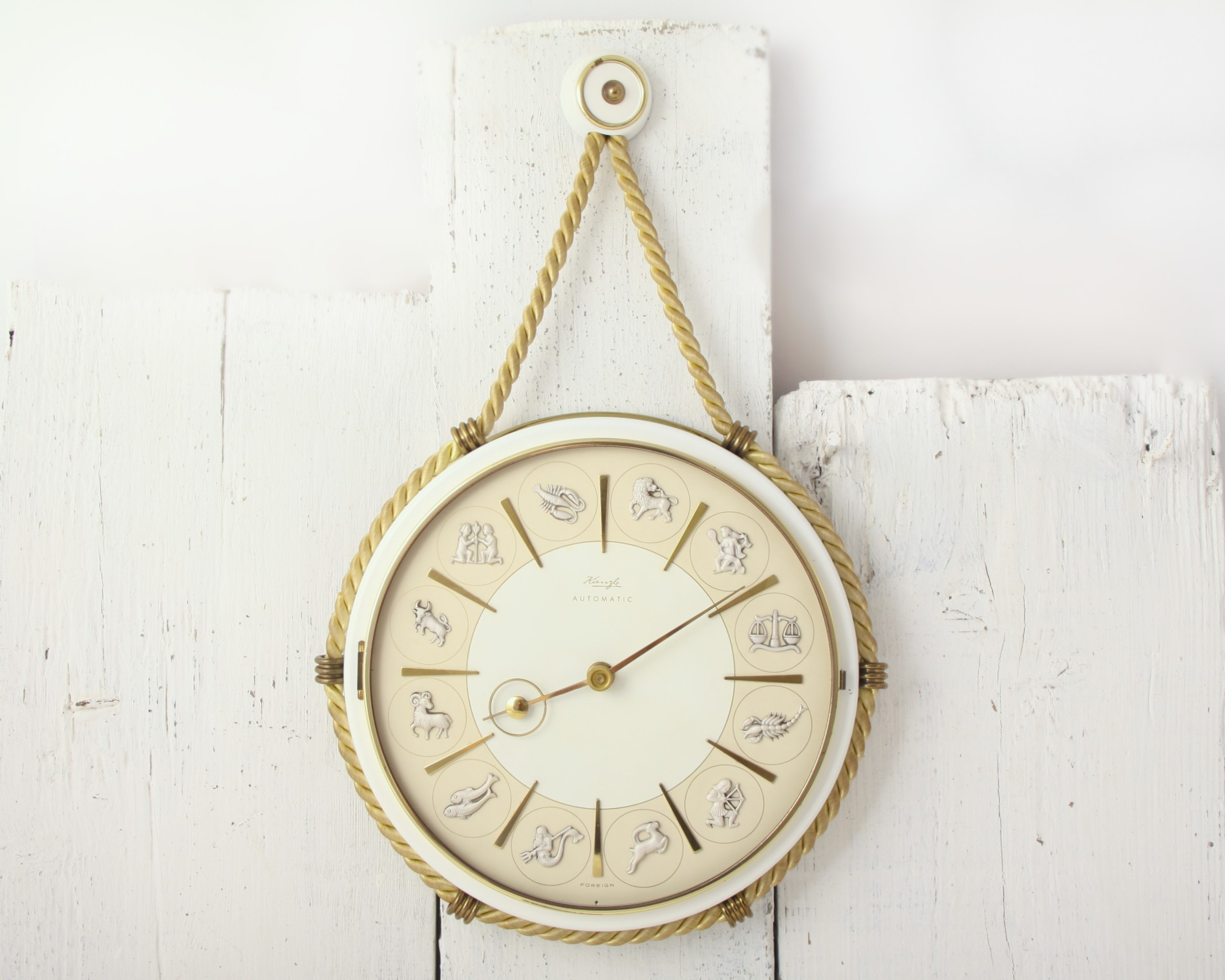 nautical zodiac style hanging wall clock made by